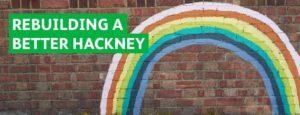 Brick wall with a rainbow